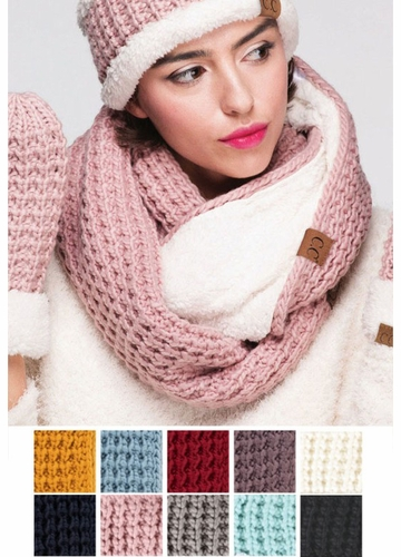 CC Knit Scarf with Sherpa Lining
