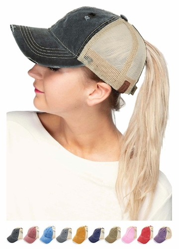 CC Mesh Back Ponytail Trucker Hat