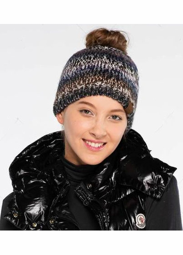 CC Ponytail Beanie in Chunky Multi Color Knit