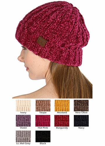 Chenille Wide Ribbed Knit CC Beanie Hat
