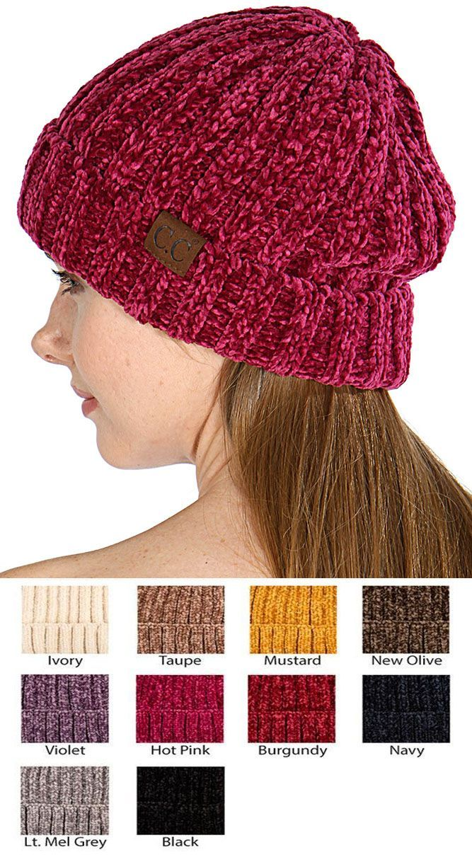 f44927a8c509b Chenille Wide Ribbed Knit CC Beanie Hat
