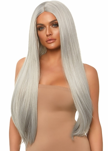 Chrome Grey Long Straight Wig with a Center Parted
