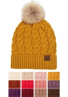 Chunky Knit CC Beanie with Plush Lining and Pom Pom