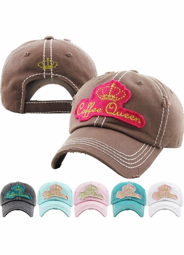 Coffee Queen Washed Vintage Ballcap