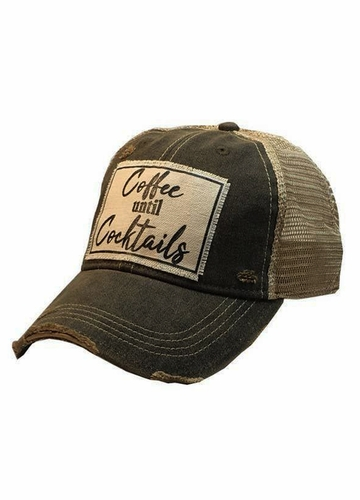 Coffee Until Cocktails Distressed Trucker Hat