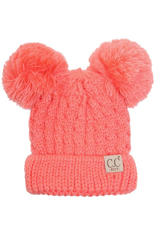 7a041d30c08 Coral Kids Knit Solid Color CC Beanie Hat with Two Pom Poms