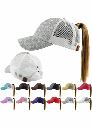 Cotton and Glitter Ponytail Baseball Hat with Mesh Sides