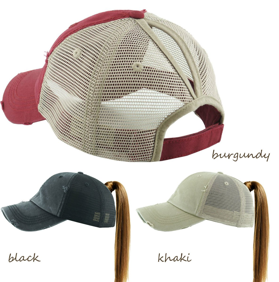 c6db022df38 ... Washed Cotton and Mesh Ponytail Trucker Baseball Hat available in 15  colors inset 2 ...