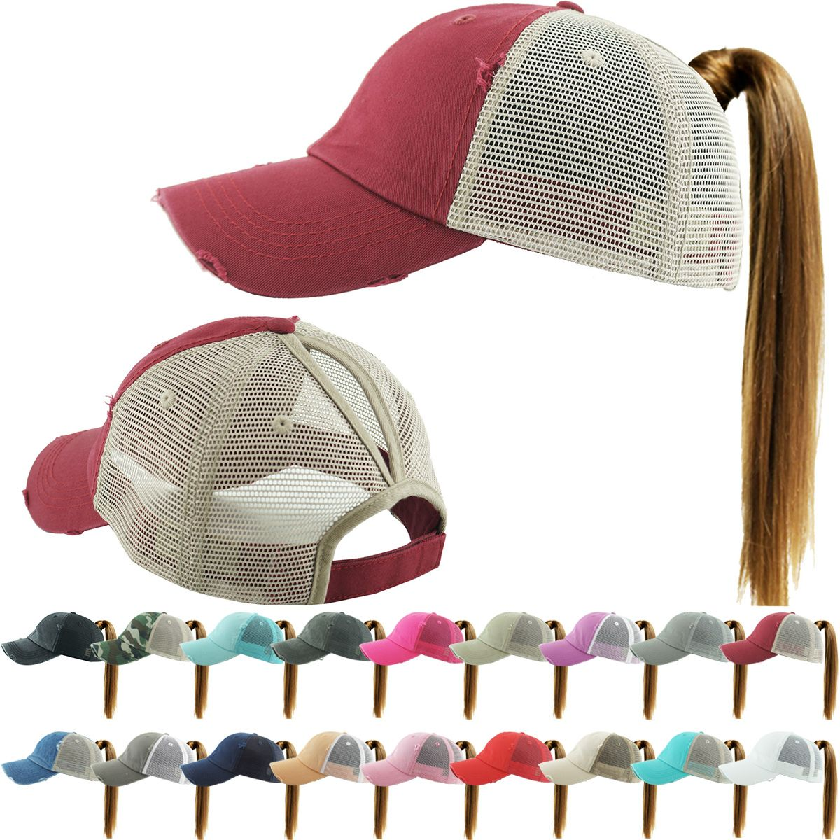 1c51ad692c1 Washed Cotton and Mesh Ponytail Trucker Baseball Hat available in 15 colors