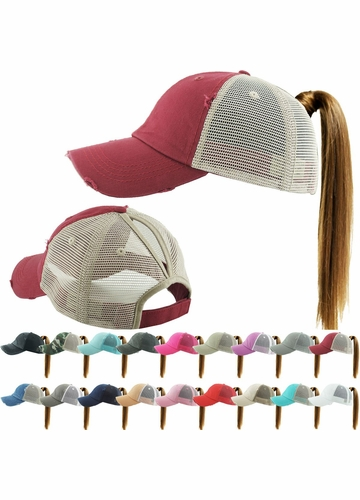 Washed Cotton and Mesh Ponytail Trucker Baseball Hat available in 15 colors