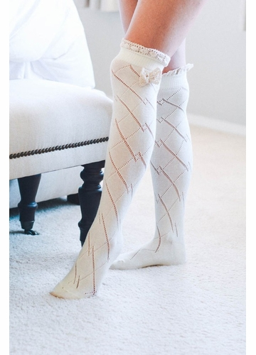 Cotton Over the Knee Diamond Socks with Lace Trim