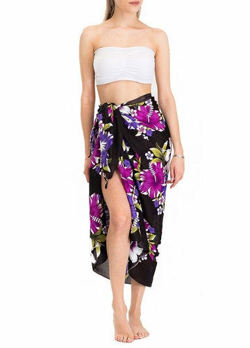 Black Cotton Sarong with Hibiscus Flowers