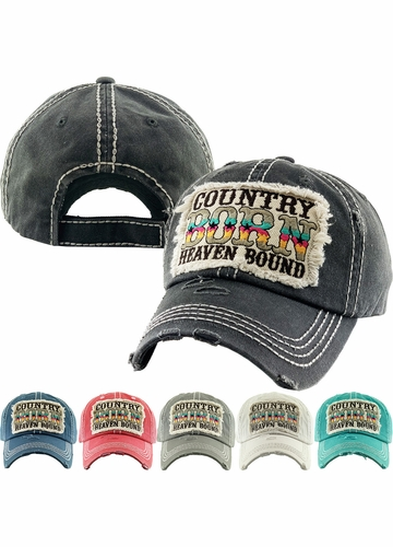 COUNTRY BORN HEAVEN BOUND Washed Vintage Ballcap