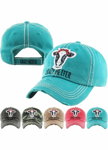 CRAZY HEIFER Washed Vintage Baseball Hat