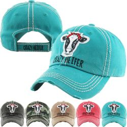 2b8243b4b3595a CRAZY HEIFER Washed Vintage Baseball Hat $15.00