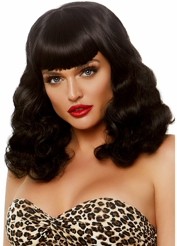 Curly Pinup Bob Wig with Retro Bangs in Black