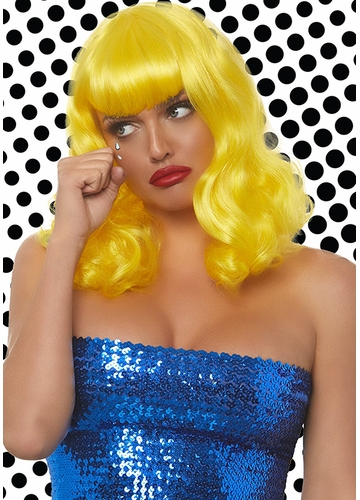 Curly Pinup Bob Wig with Retro Bangs in Yellow