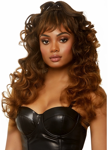 Curly wispy wig with Half Up Pony in Brown