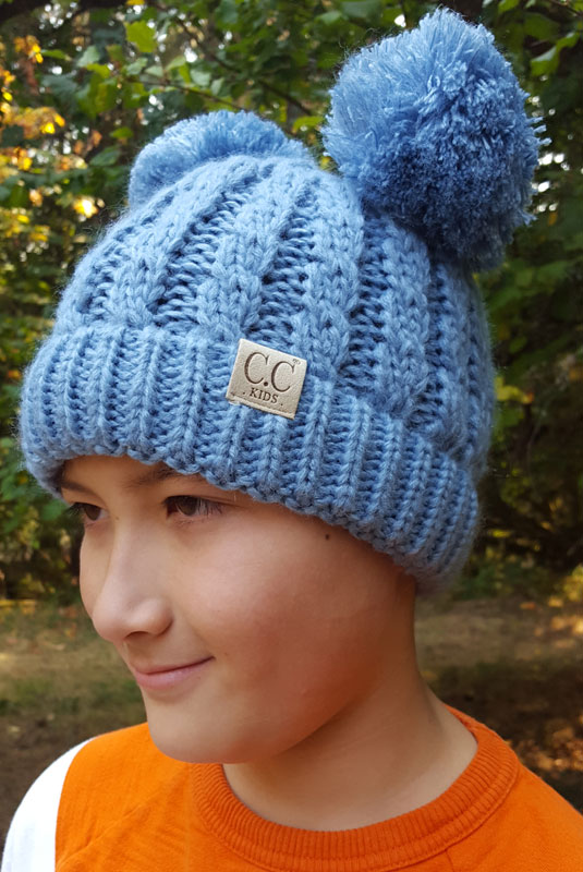 Dark Denim Kids Knit Solid Color Cc Beanie Hat With Two