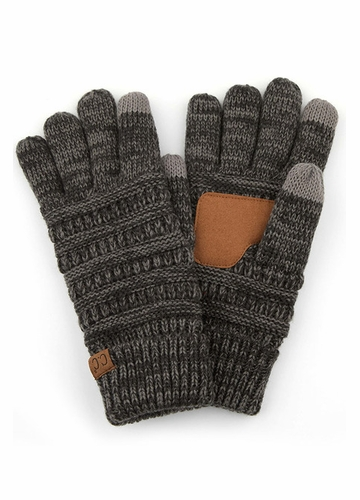 Dark Grey Multi Color Smart Tip CC Gloves with Lining