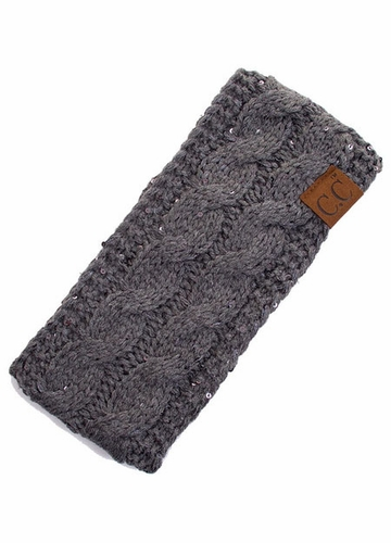 Dark Grey Sequin Cable Knit CC Headband with Plush Lining