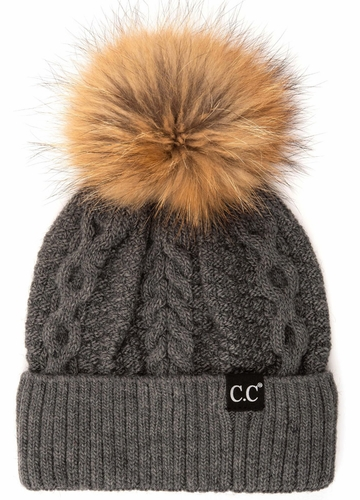 Dark Melange Grey CC Exclusives Double Cable Beanie Hat with Fur Pom