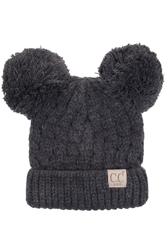 Dark Melange Grey Kids Knit Solid Color CC Beanie Hat with Two Pom Poms 25e069767a4