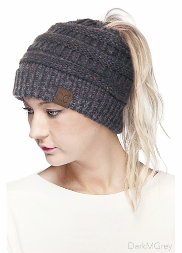 Dark Melange Grey Ombre Confetti CC Beanie with Ponytail Opening
