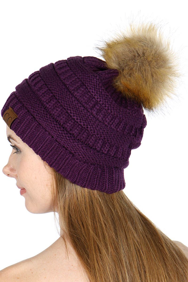b8fadd425 Dark Purple Faux Fur Pom Pom CC Beanie Hat