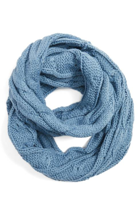 Denim Cc Brand Cable Knit Infinity Scarf