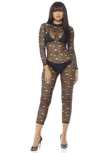 Distressed Net Catsuit