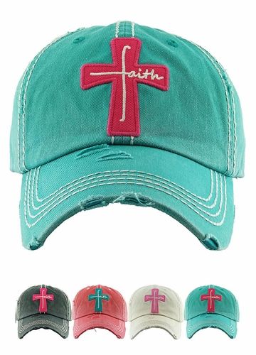 Faith Cross Vintage Distressed Baseball Cap