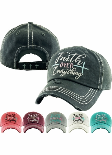 FAITH OVER EVERYTHING Washed Vintage Ballcap
