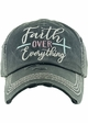 FAITH OVER EVERYTHING Washed Vintage Ballcap inset 1