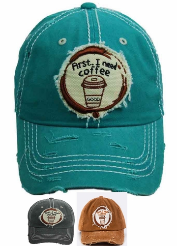 First, I Need Coffee Patch Baseball Hat