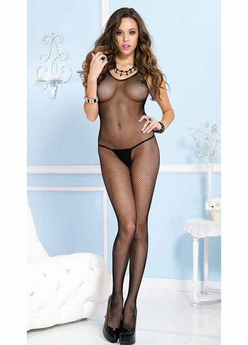 Fishnet Halter Black Bodystocking with Open Back Plus Size