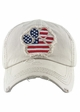 FLAG PAW PRINT Washed Vintage Baseball Hat inset 1