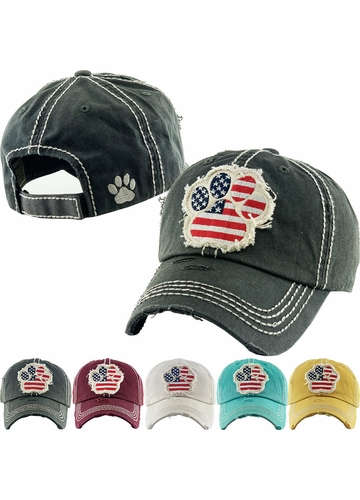 FLAG PAW PRINT Washed Vintage Baseball Hat