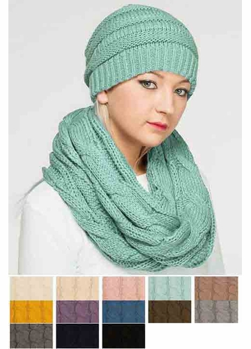 Fleece Lined Cable Knit CC Infinity Scarf