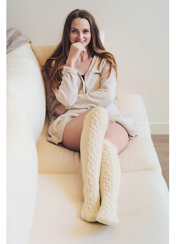 French Cable Knit Over The Knee Socks