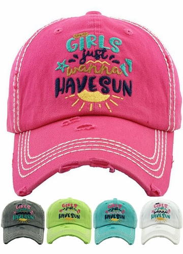 GIRLS Just Wanna HAVE SUN Baseball Hat