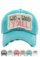GOD IS GOOD Y'ALL Washed Vintage Baseball Cap inset 2