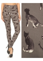 Gray Cats Peach Skin Leggings