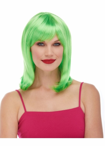 Green Tapered Wig with Full Bangs Doll