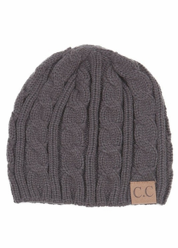 Grey Cable Knit CC Beanie Hat