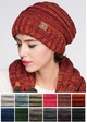 Grey Multi Color Slouchy CC Beanie Hat inset 1