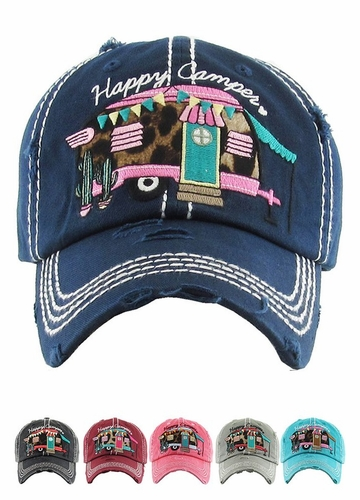 Happy Camper Baseball Hat with Leopard Lining