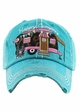 Happy Camper Baseball Hat with Leopard Lining inset 1