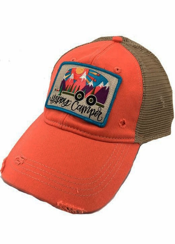 Happy Camper Coral and Mesh Baseball Hat