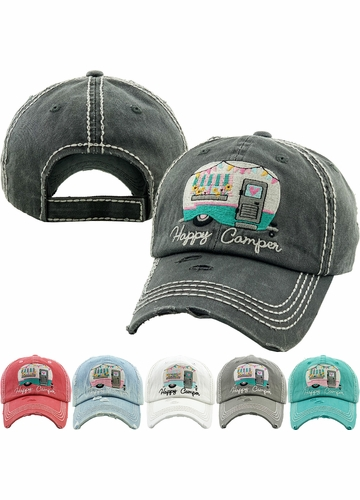 HAPPY CAMPER Spring Washed Vintage Ballcap